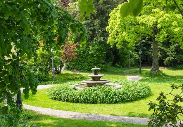 Fontein in groen zomer park. Premium Foto