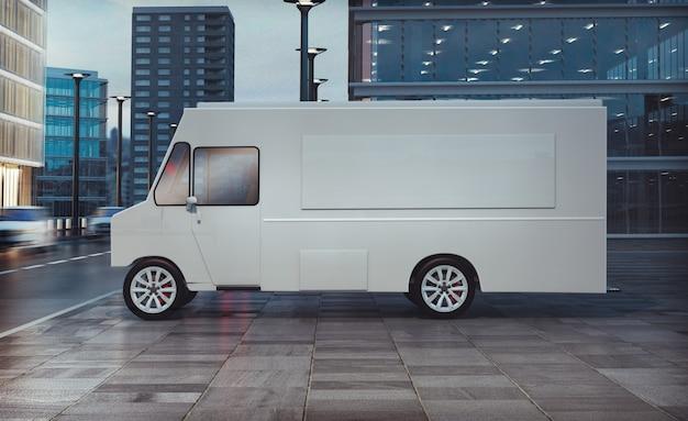 Food truck geparkeerd op de straat Premium Foto
