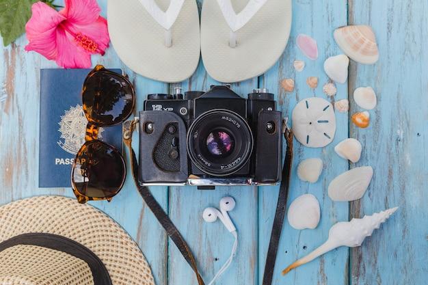 Foto camera en strand accessoires Gratis Foto