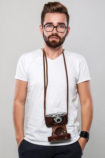 Fotograaf met retro camera Premium Foto