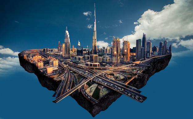 Fotomanipulatie van de skyline van dubai Premium Foto