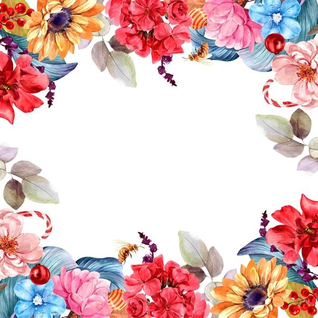 Frame boeket bloemen geïsoleerd aquarel Premium Foto