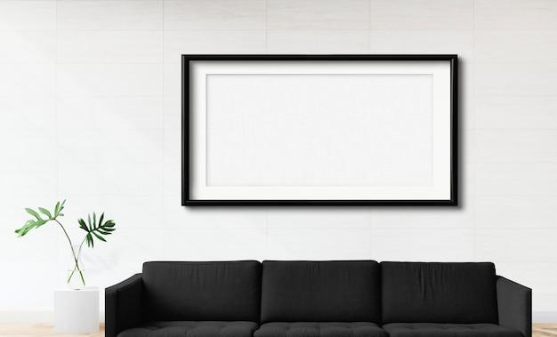 Frame mockup in een woonkamer Premium Foto