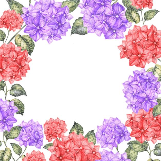 Frame van kleurenbloemen. Premium Foto
