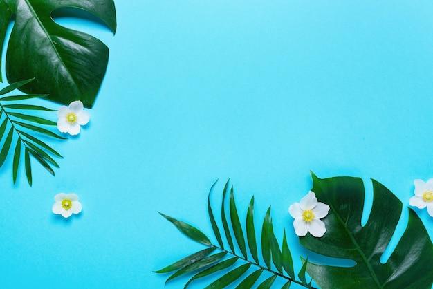 Frame van tropische bladeren monstera en palm op roze achtergrond. bovenaanzicht, plat gelegd. Premium Foto