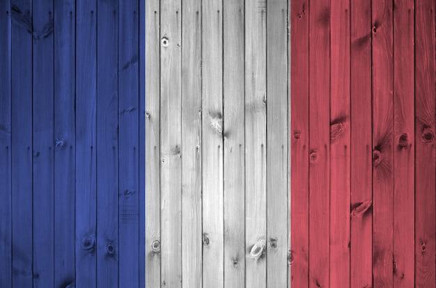 Frankrijk vlag op oude houten muur Premium Foto