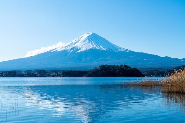 Fuji-berg met kawaguchiko-meer en blauwe hemel Premium Foto