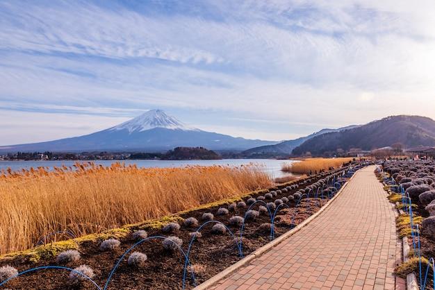 Fujiberg bij kawaguchiko-meer, japan Premium Foto