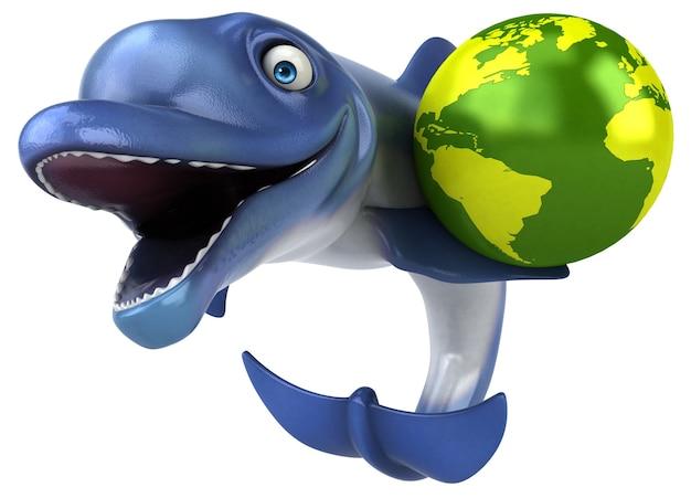 Fun dolphin - 3d illustratie Premium Foto