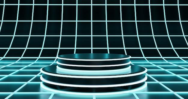 Futuristisch podium op hologram oppervlakte achtergrond Premium Foto