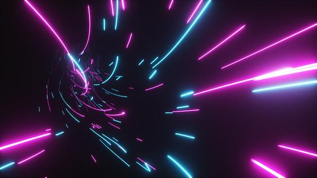 Futuristische abstracte vlucht in een heldere tunnel met lichtgevende lijnen Premium Foto