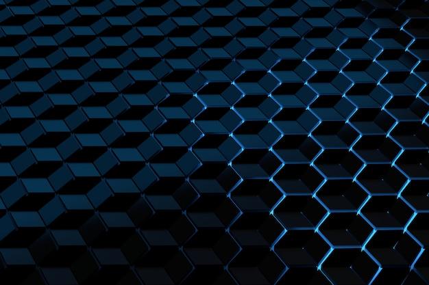 Futuristische achtergrond met een patroon van zeshoekjes kubussen verlicht door blauw licht. Premium Foto