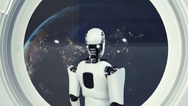 Futuristische robot, kunstmatige intelligentie cgi binnen ruimteschip in ruimteuniversum Premium Foto
