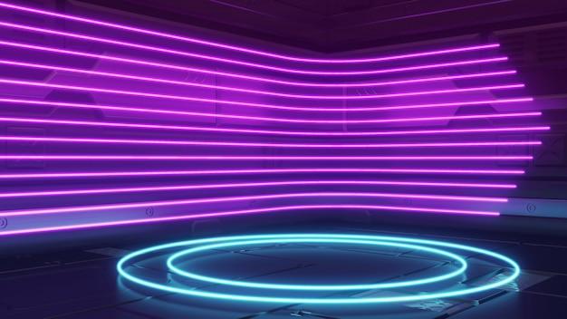 Futuristische sci-fi abstracte blauwe en paarse neonlichtvormen op reflecterend metaal Premium Foto