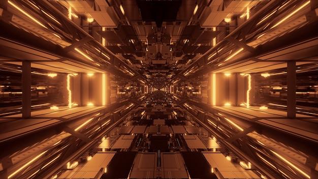 Futuristische sci-fi ruimtetunneldoorgang met gloeiende glanzende lichten Gratis Foto