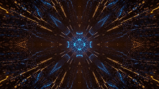 Futuristische science-fiction abstracte korrelig achtergrond met blauwe en gele lichten Gratis Foto