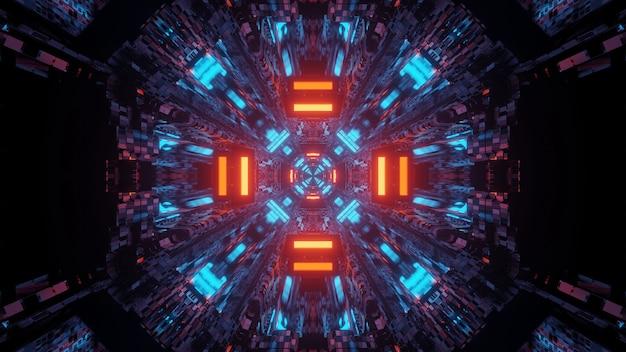 Futuristische tunnelgang neonlichten Gratis Foto