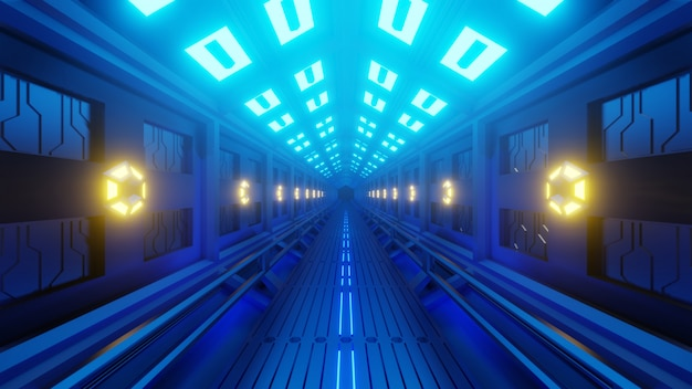 Futuristische zeshoekige tunnel in een ruimtevaartuig met een ruimtewandeling. zacht geel-blauw licht, lampen aan de muren van de gang. Premium Foto