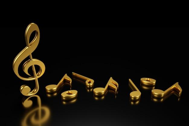 G-sleutel en muzieknotatie 3d-rendering. Premium Foto