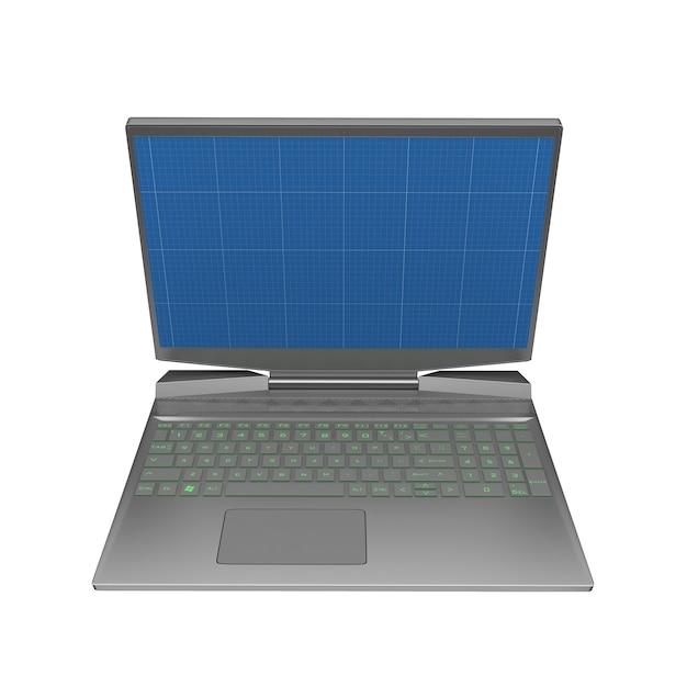 Gaming laptop met blauwdruk in scherm Premium Foto