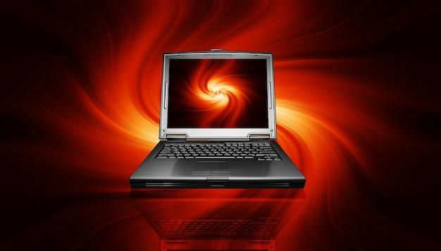Gaming pc-laptop op vurig ontwerp Gratis Foto