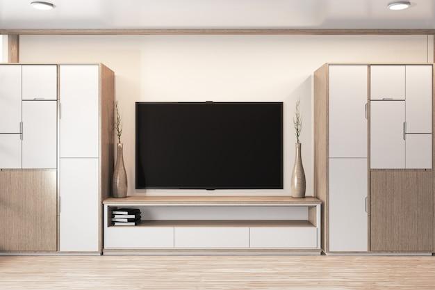 Garderobe houten ontwerp en kast tv houten japans ontwerp op kamer minimaal interieur Premium Foto
