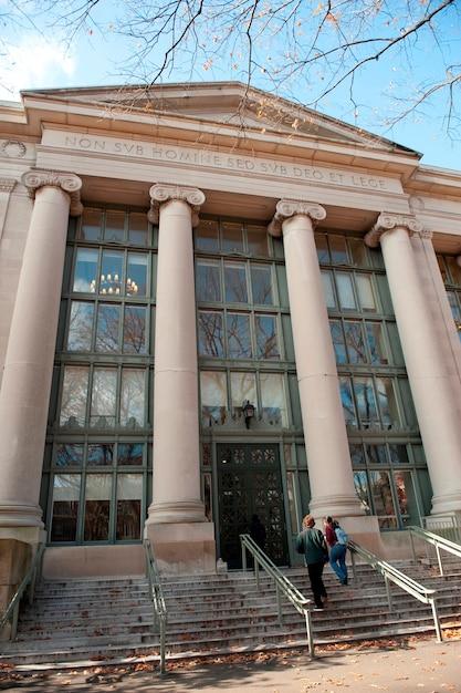 Gebouwen op de campus van de universiteit van harvard in boston, massachusetts, de vs Premium Foto