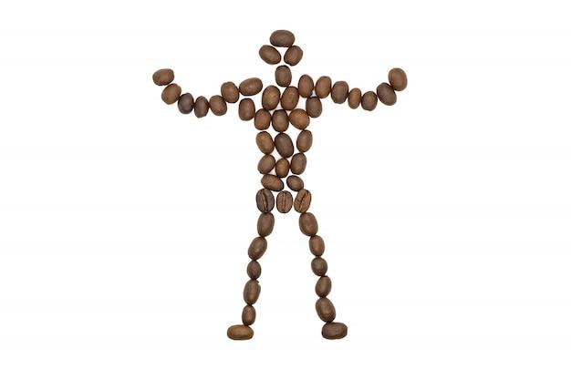 Gebrande koffiebonen, kleine vorm van de man, geïsoleerd. Premium Foto