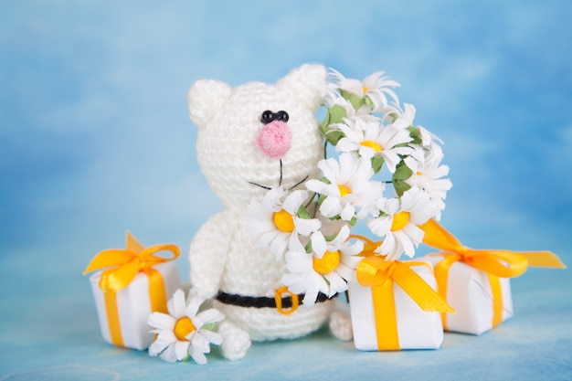 Gebreide kat. st. valentijnsdag decor. gebreide speelgoed, amigurumi, wenskaart. Premium Foto
