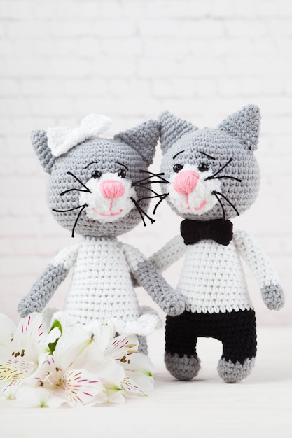 Gebreide katten, paar, speelgoed. handgemaakt, amigurumi. witte achtergrond, briefkaart. diy Premium Foto