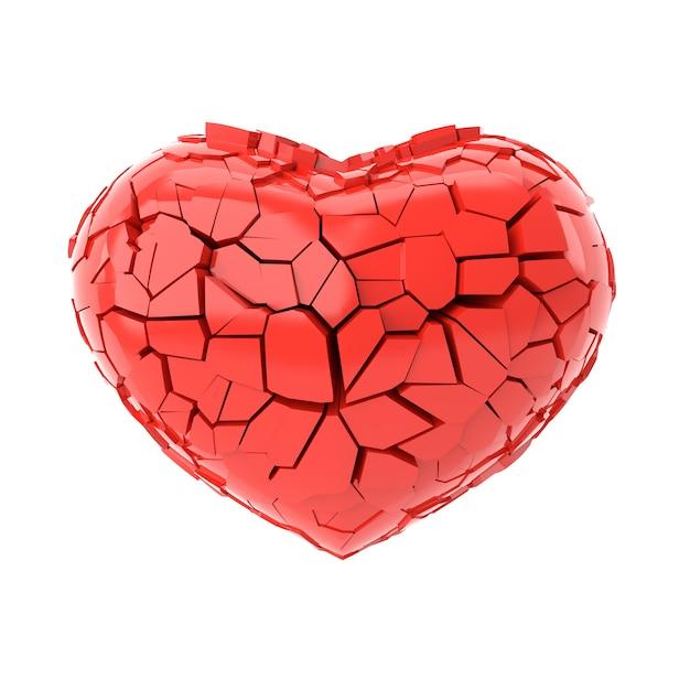 Gebroken hart. 3d-weergave Premium Foto