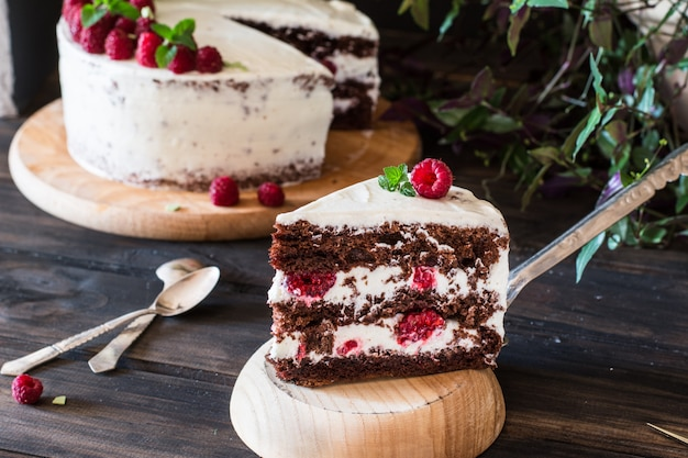 Gedeelte van gelaagde romige fruitcake. raspberry cake. chocoladetaart. cheesecake. black fo Premium Foto