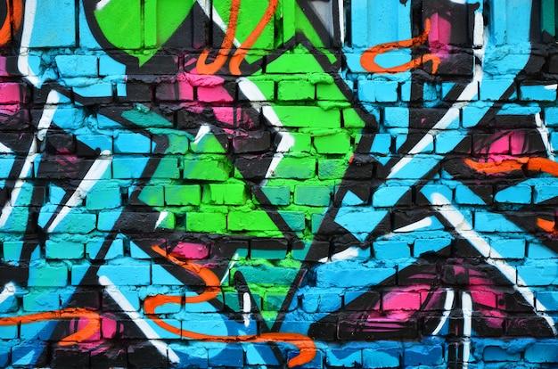 Gedetailleerd beeld van de tekening van kleurengraffiti. Premium Foto