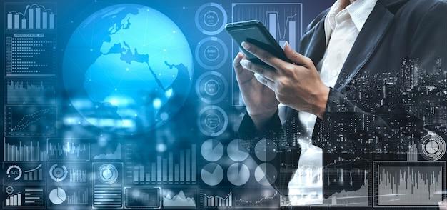 Gegevensanalyse voor bedrijfs- en financieringsconcept Premium Foto