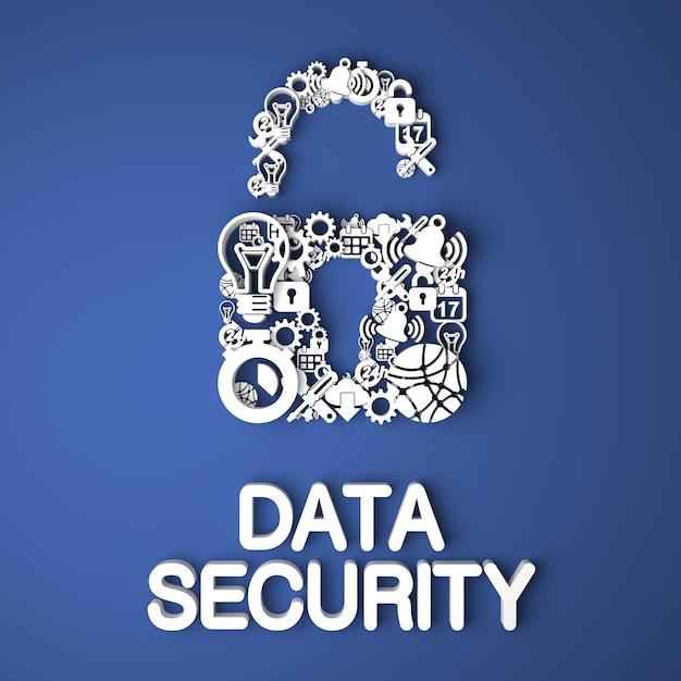 Gegevensbeveiligingskaart handgemaakt van papieren tekens op blauwe achtergrond Premium Foto