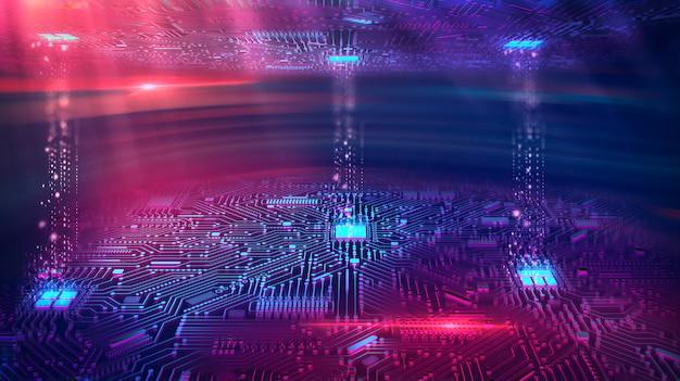 Gegevensoverdrachtskanaal. overdracht van big data. beweging van digitale gegevensstroom. Premium Foto