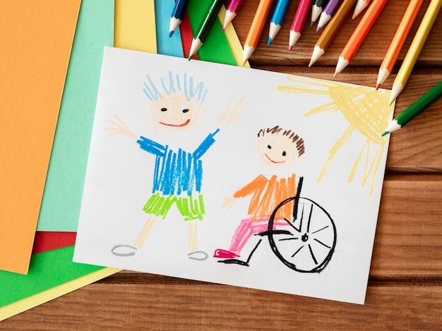 Gehandicapt kind en vriend inclusieconcept Premium Foto