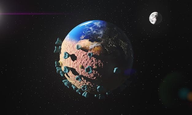 Geïnfecteerde planeet aarde met coronavirus Gratis Foto