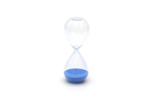 Geïsoleerd blauw zandhorloge Premium Foto