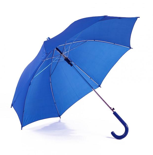 Geïsoleerde blauwe paraplu op witte achtergrond Premium Foto