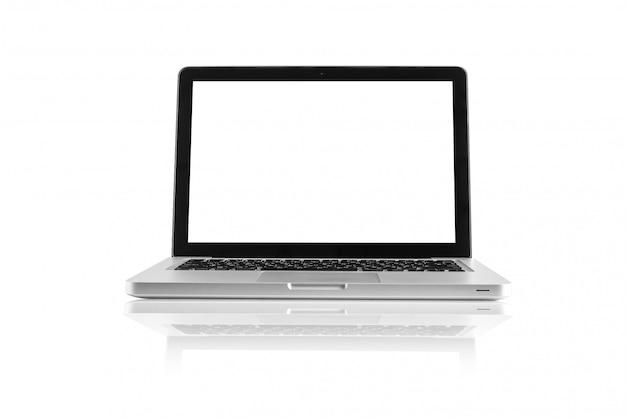 Geïsoleerde computerdesktop op witte achtergrond Premium Foto