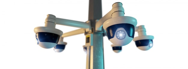 Geïsoleerde de kabelcctv camera van de straat - het 3d teruggeven Premium Foto