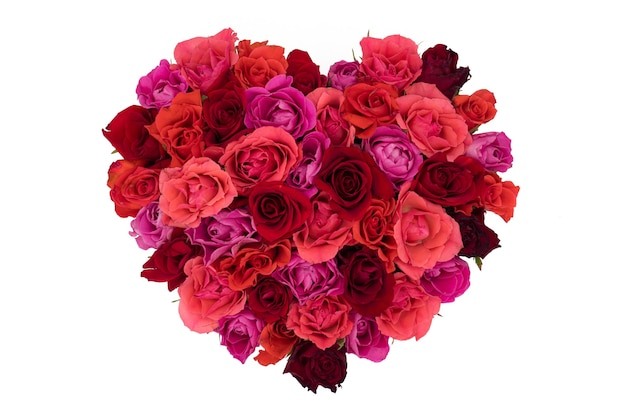 Geïsoleerde hartvormig boeket rozen Premium Foto