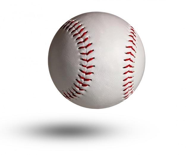 Geïsoleerde honkbal op witte en rode stiksels. Premium Foto