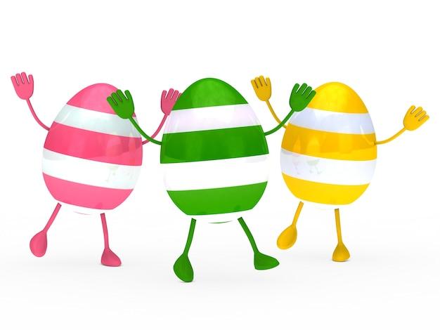 gekleurde eieren met handen en voeten foto gratis