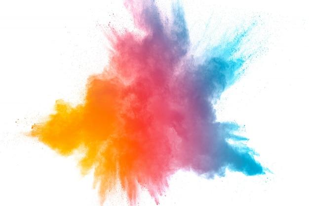 Gelanceerd kleurrijk poeder op zwarte achtergrond Premium Foto
