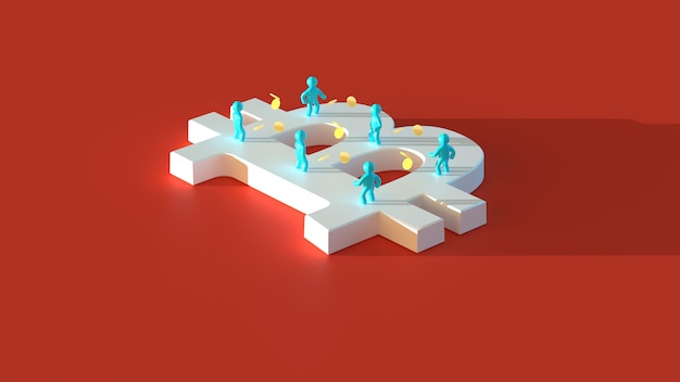 Geld of bitcoin - 3d illustratie Premium Foto