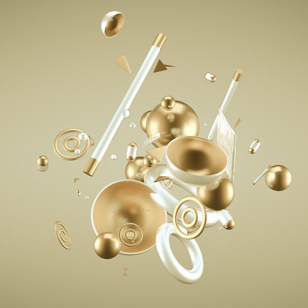 Gele abstracte minimalisme achtergrond met vliegende objecten en vormen. 3d-weergave. Premium Foto