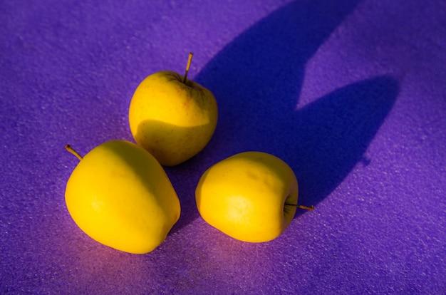 Gele appels op paars. groep gele appel op een paarse achtergrond. kleur trends concept met kopie ruimte Premium Foto