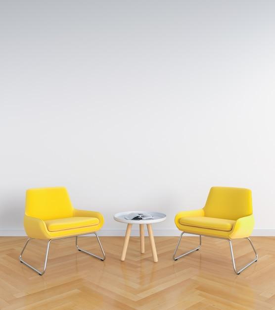 Gele bank in witte woonkamer voor model, het 3D teruggeven | Foto ...